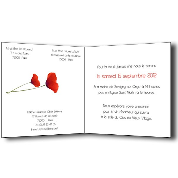 faire part mariage coquelicots carte invitation et remerciement menu. Black Bedroom Furniture Sets. Home Design Ideas
