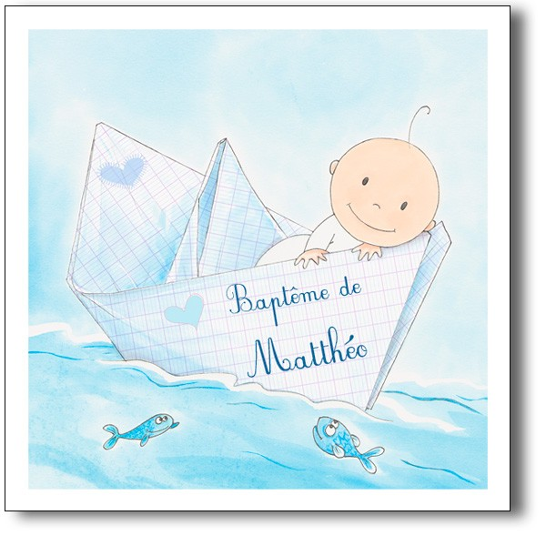 Faire part bapt me bateau fille ou gar on th me marin - Theme bapteme garcon original ...