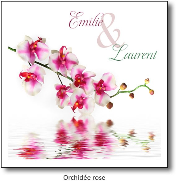 faire part mariage orchidee rose