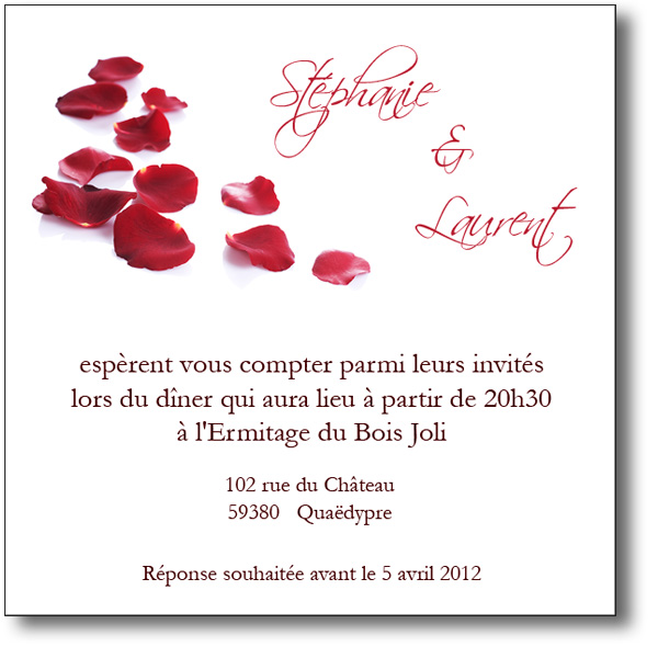 invitation mariage p tales de roses coordonn e au faire part. Black Bedroom Furniture Sets. Home Design Ideas