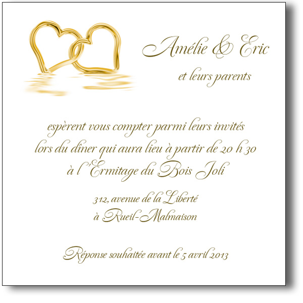 invitation mariage coeurs or