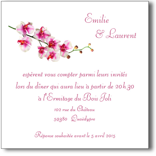 carte orchid e invitation mariage coordonn e au faire part. Black Bedroom Furniture Sets. Home Design Ideas