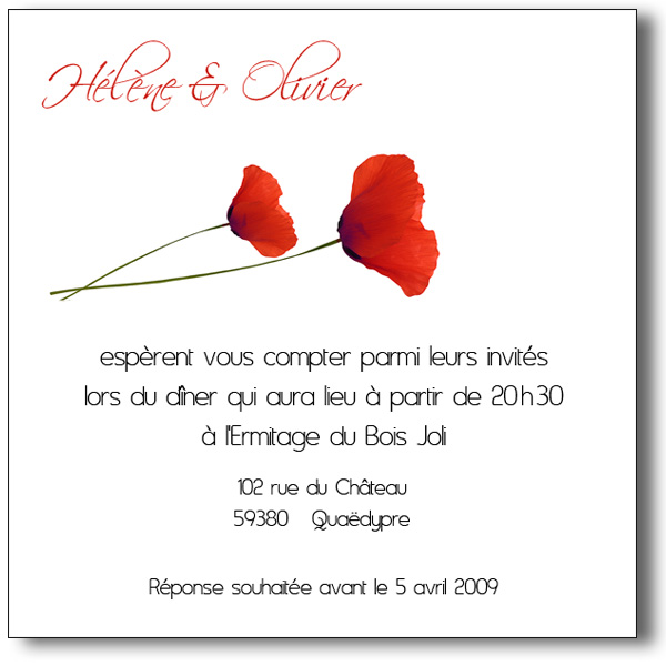 carte invitation coquelicots lutin faire part. Black Bedroom Furniture Sets. Home Design Ideas