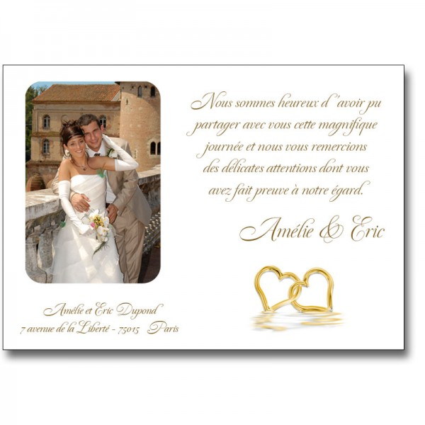 carte remerciement mariage coeurs or