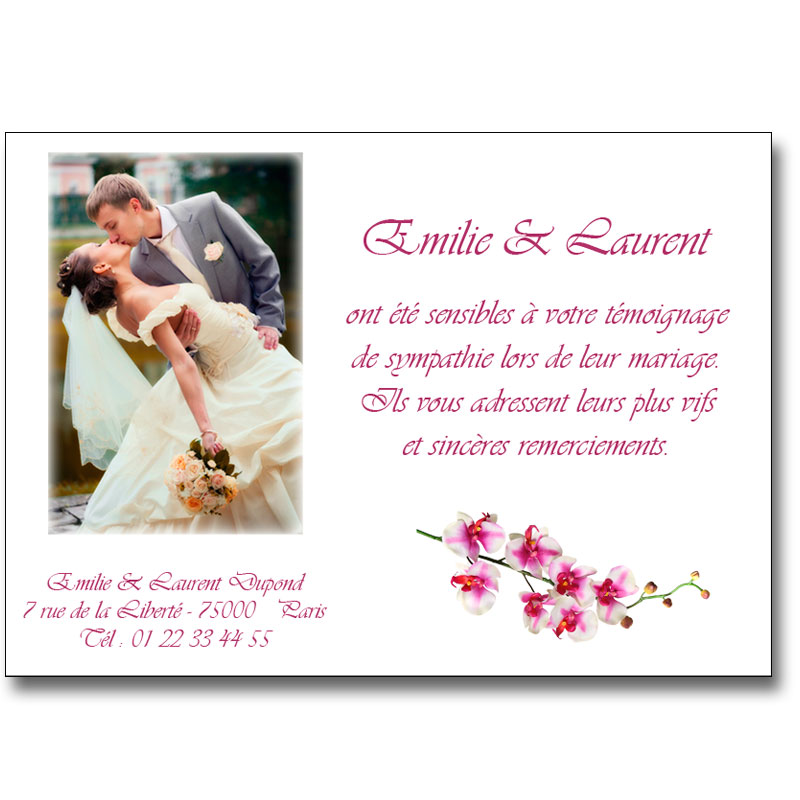 Carte remerciement mariage orchidee