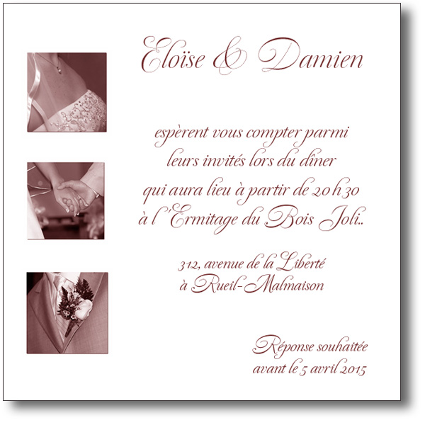 invitation mariage en photos sépia