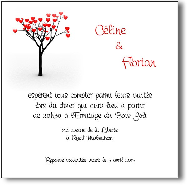 carte invitation mariage arbre des coeurs. Black Bedroom Furniture Sets. Home Design Ideas