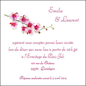 carte invitation orchidee