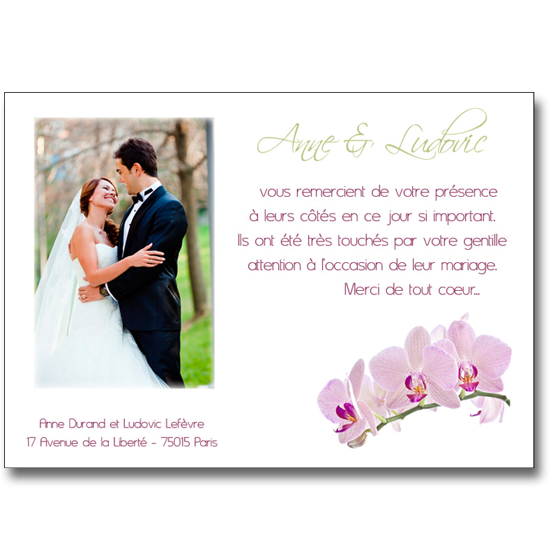 carte de remerciement mariage avec photo. Black Bedroom Furniture Sets. Home Design Ideas