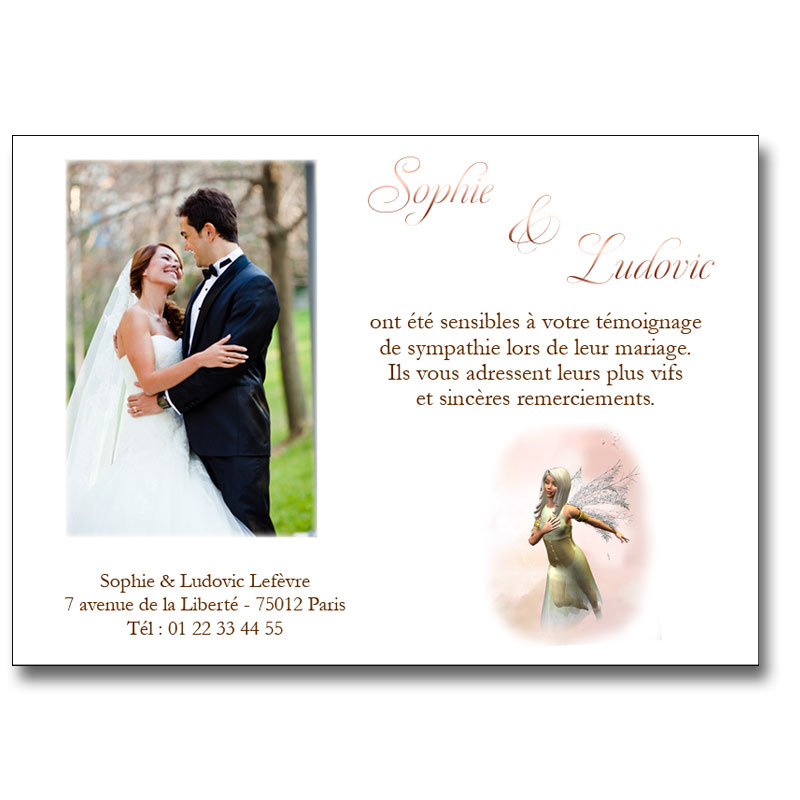carte de remerciement mariage f erie avec photo en brun ou bleu. Black Bedroom Furniture Sets. Home Design Ideas