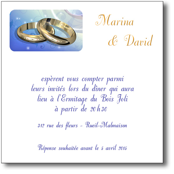 carte d'invitation mariage alliances en or