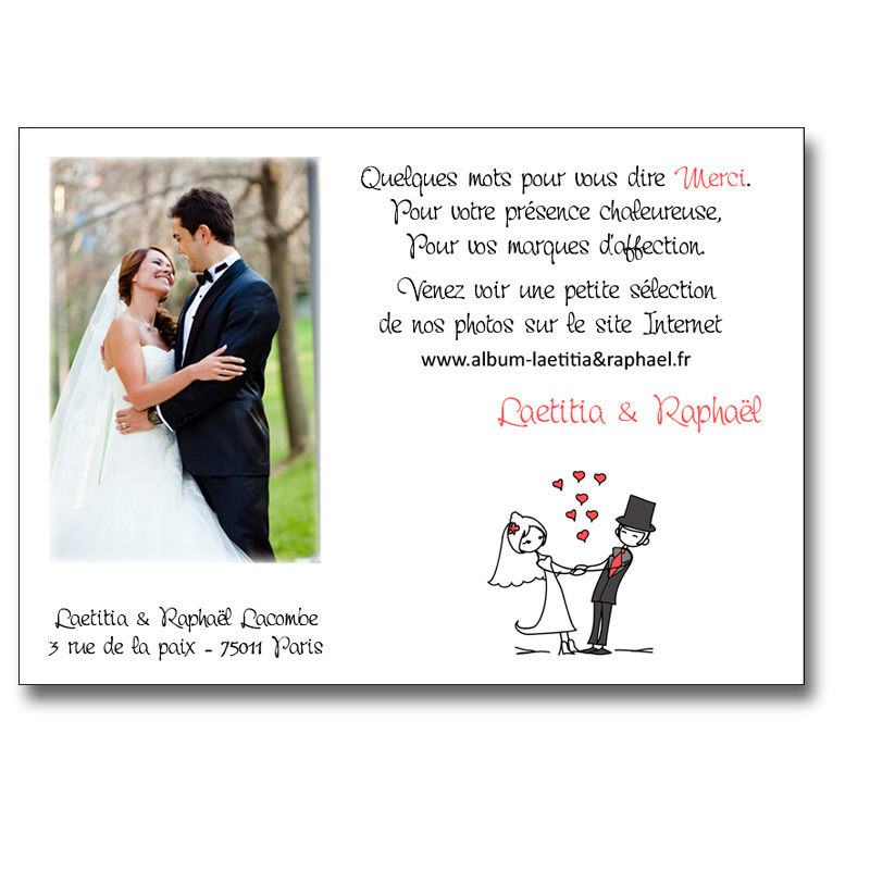 carte de remerciement mariage bd avec photo. Black Bedroom Furniture Sets. Home Design Ideas