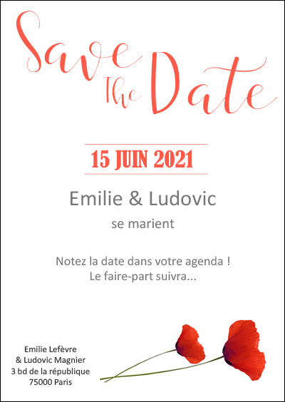 Save The Date Coquelicots